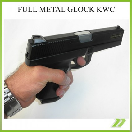 Pistola KWC Glock full Metal airsoft 6 mm peso 900 gramos
