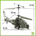 Helicoptero Rc Apache Ah64 3 Canales Remoto Luces Led Nuevo