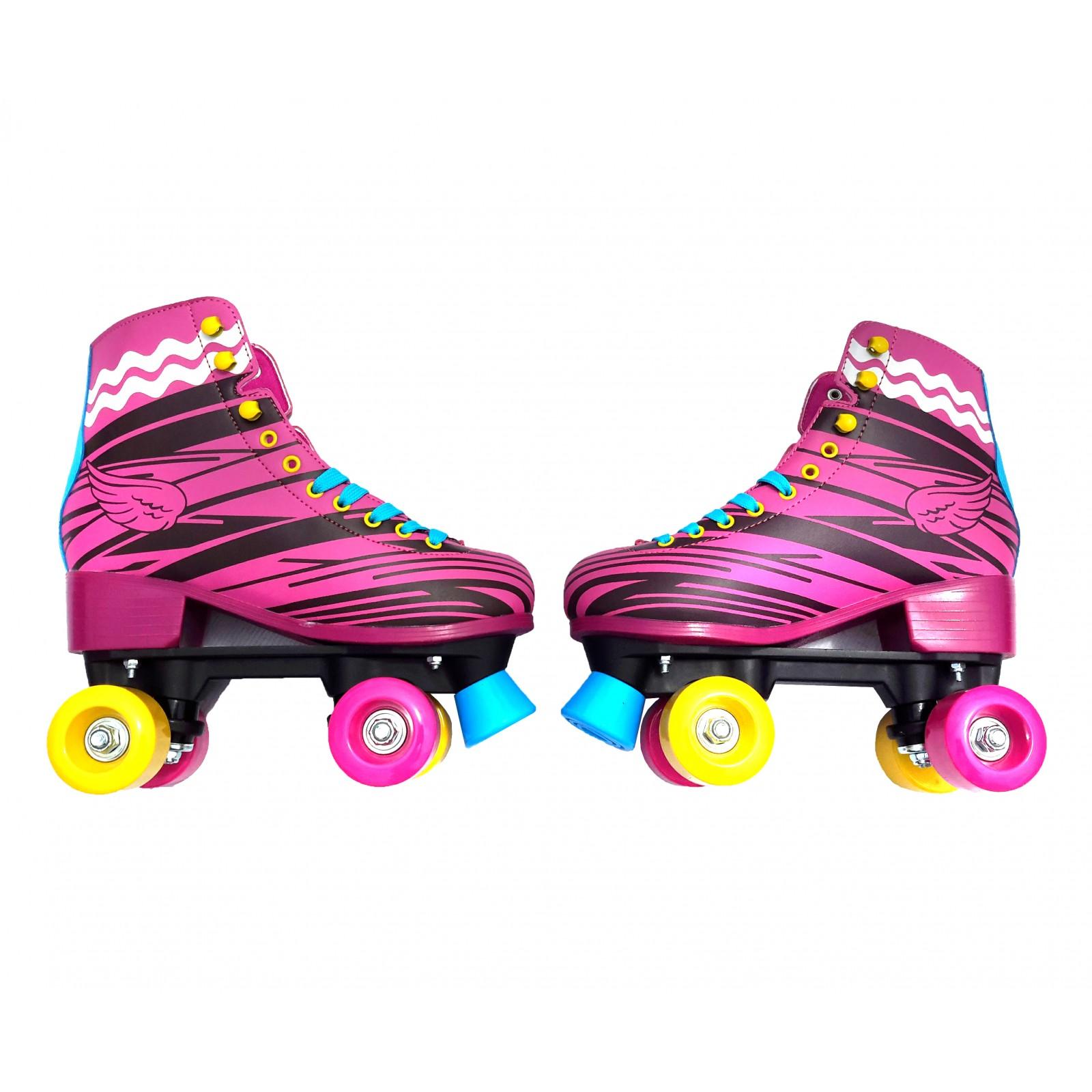 Patines Artisticos Bota 4 Llantas Quad Skate Tacon Rosados freno