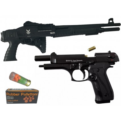 Combo Rifle Escopeta Changon Traumático PAM-41FS Cal 12 Carabina - Pistola Fogueo Ekol Firat Magnum Negra Cal 9mm P.A.K.