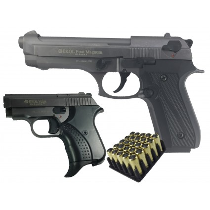 Combo Pistola Traumática Ekol Firat Magnum Fume - Pistola Traumática Ekol Volga Mini Fume Cañón Abierto Bala Goma