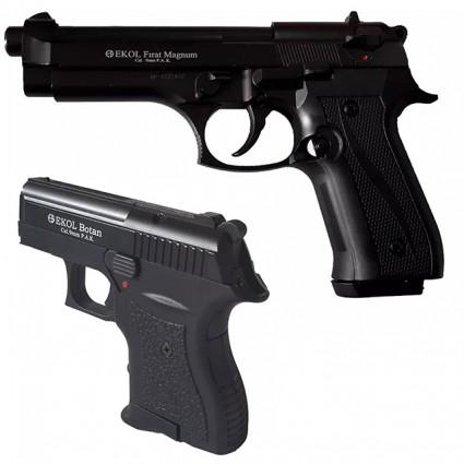 Combo Pistola Fogueo Ekol Firat Magnum Negra - Pistola Fogueo Mini Ekol Botan Negra Cal 9mm P.A.K.