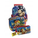Combo Bolso Morral Maletin - Lonchera - Cartuchera Infantil Disney Mickey Mouse Niño Relieve.