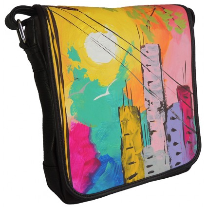 Bolso Arte Carriel 100% Cuero Pintura Original Acrilico Unisex Manos Libres 25 x 23 cm Musico Saxo