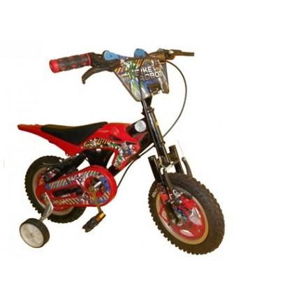 Bicicleta infantil tipo moto llantas auxiliares para niño