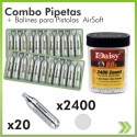 Combo Tarro 2.400 Bb 4.5 Mm Acero 20 Pipetas Armas Co2   Gas